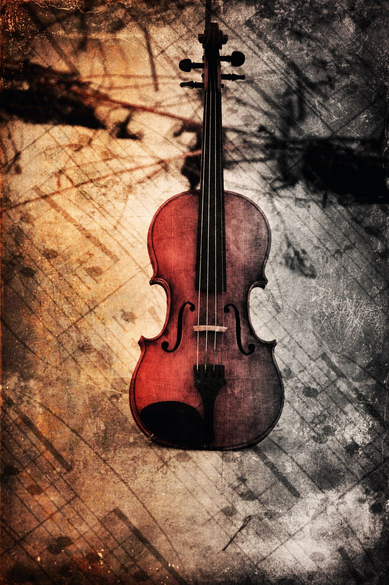 Empty room with chair violin and sheet music on floor photograph - Sheet Music The Violin Love The Pic Kss