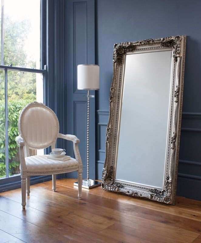 Carved Louis Leaner Mirror Silver The Furniture Gallery Mirror Decor Decor Floor Standing Mirror