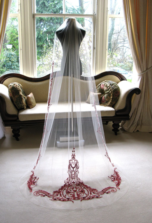 Couture bridal or wedding veil mini sophia in garnet via
