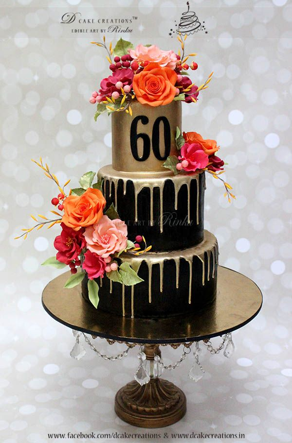 Three Tier Black & Gold Cake with Sugar Flowers for 60th Birthday