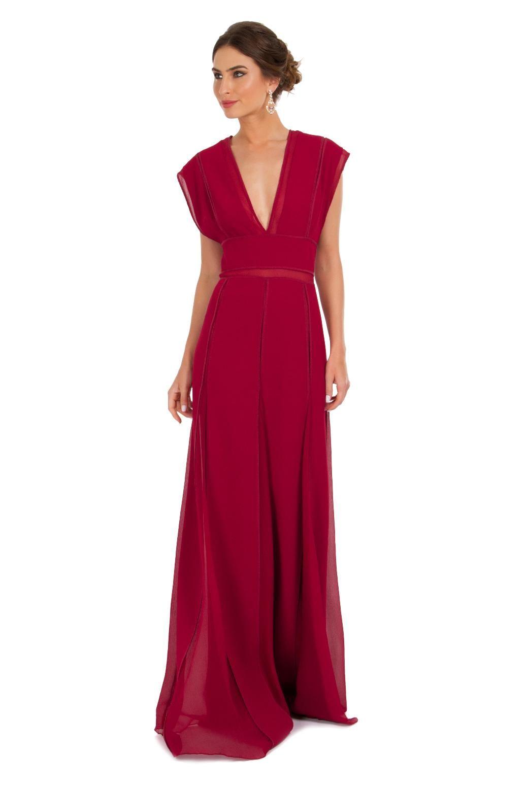 edff1c4c3 Vestido longo de crepe vermelho com alças duplas largas, pala na cintura e  nesgas de