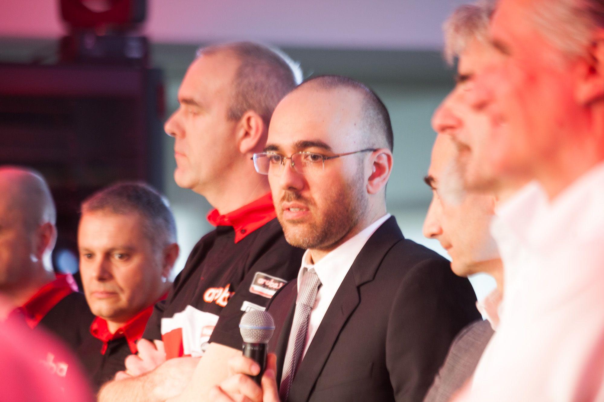 Stefano Cecconi, AD di Aruba e Team Principal. Accanto: Marinelli, Domenicali, Dall'Igna e Ciabatti.