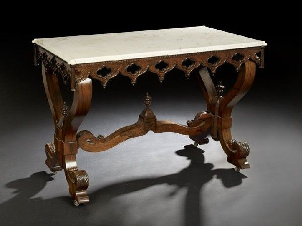 565 American Gothic Revival Rosewood Center Table Maker