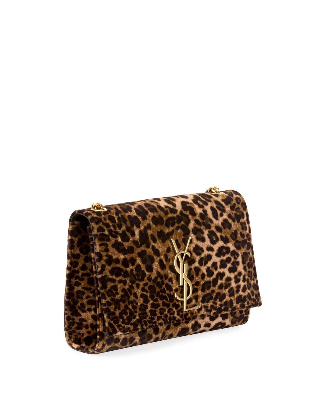 b200c4363e3326 Saint Laurent Kate Monogram YSL Small Leopard-Print Velvet Crossbody Bag