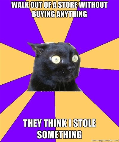 Anxiety cat. hahah YES, espeically if I browse in a fancy store that I know I can't afford!
