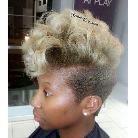 Blonde Ombre Twa Molded Sides To Help With Growing Out Shaved Sides Cute Hairstyles For Short Hair Natural Hair Styles Short Blonde Hair