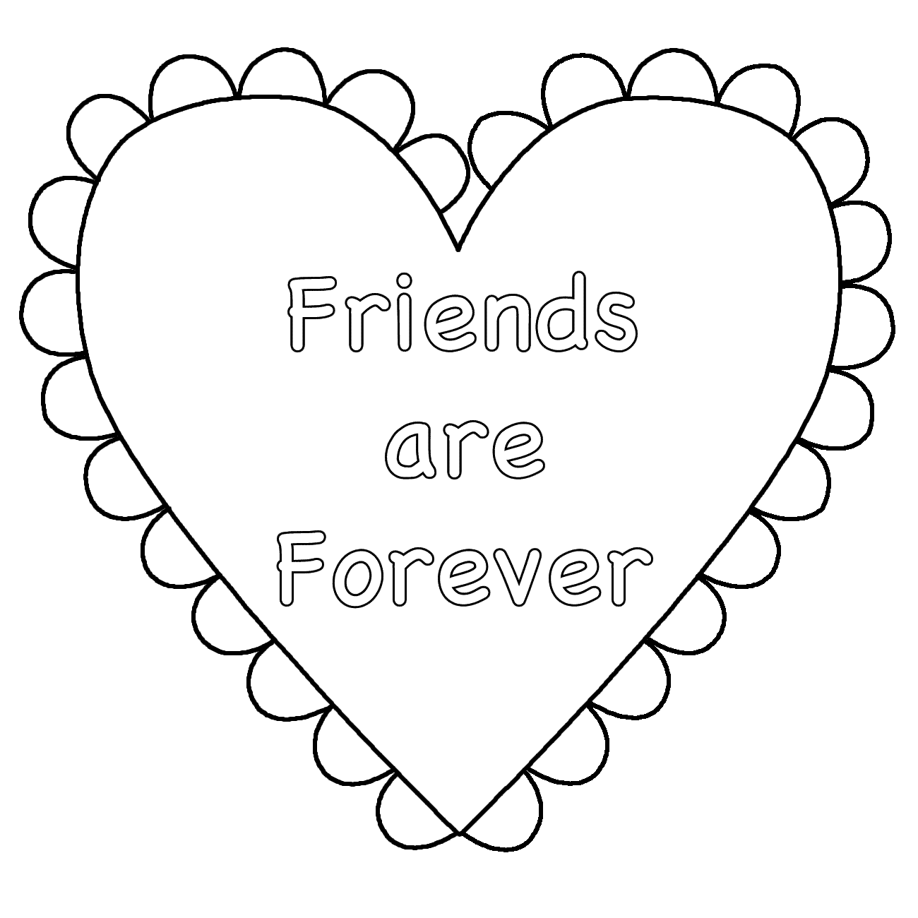 Heart Friends Are Forever Coloring Page Valentine S Day Heart Coloring Pages Valentine Coloring Pages Free Printable Coloring Pages
