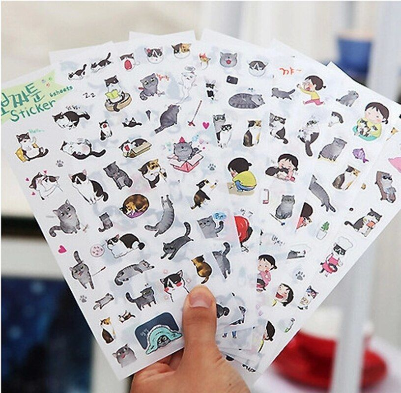 6pcs//pack DIY Natural Decor Adhesive Stickers Diary Stationery Scrapbooking