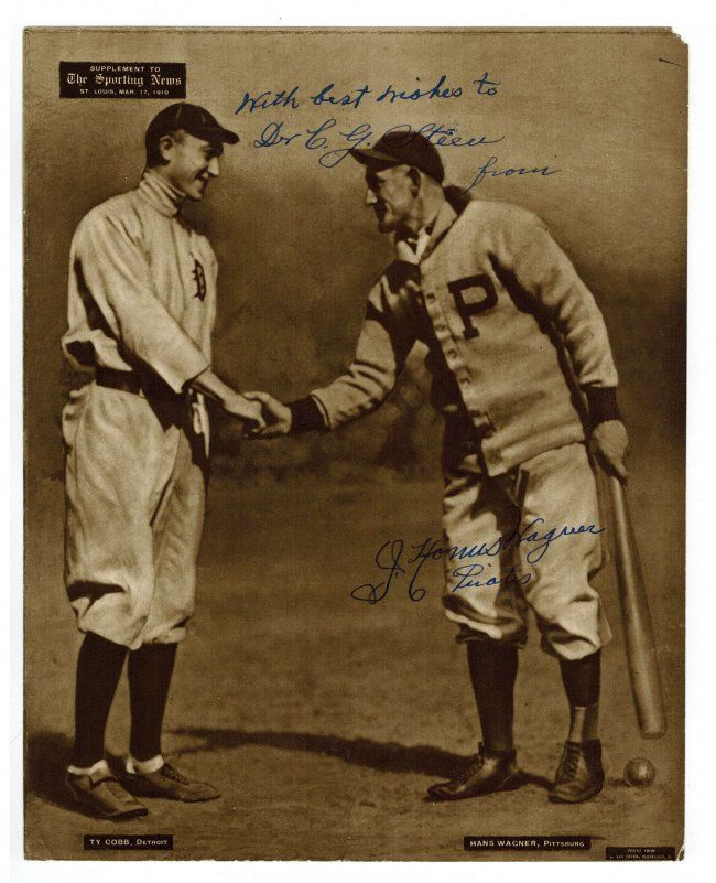 Honus Wagner Autographed 1909 13 M101 2 Sporting News Lot 240 Vintage Baseball Ty Cobb Baseball Photos