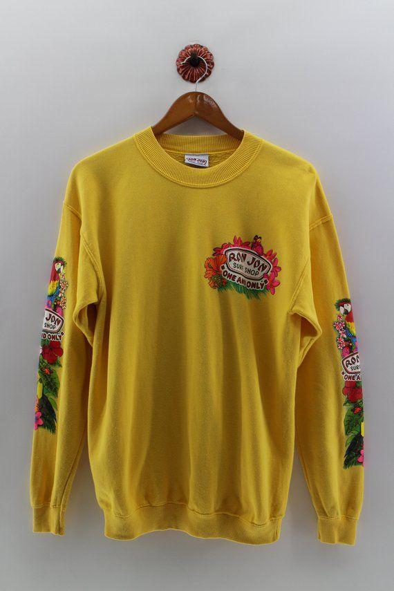 eab139c27370 RON JON Pullover Sweatshirt Men Medium Vintage Ron Jon Surf Shop Hawaii  Sportwear Sweater Hawaiian S