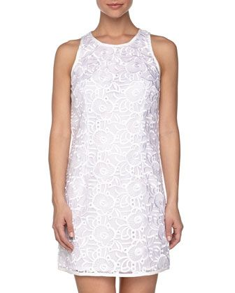 Sleeveless Eyelet Shift Dress, Optic White   by Laundry by Shelli Segal at Neiman Marcus Last Call.