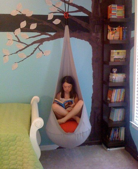 An indoor swing (Ikea has several options) is great for a fun and functional kids bedroom.