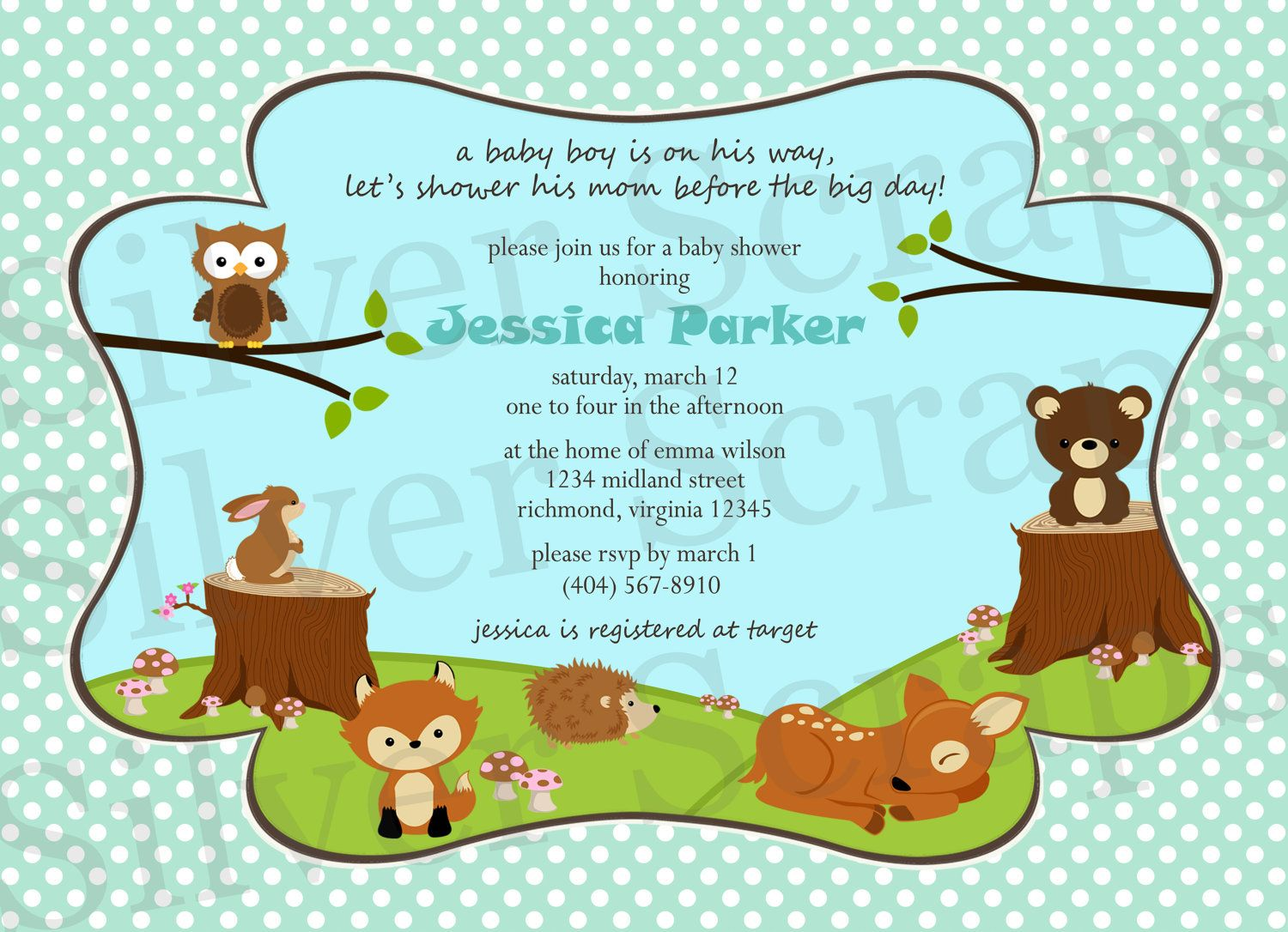 woodland forest animals custom digital baby shower or birthday invitation boy bear fox