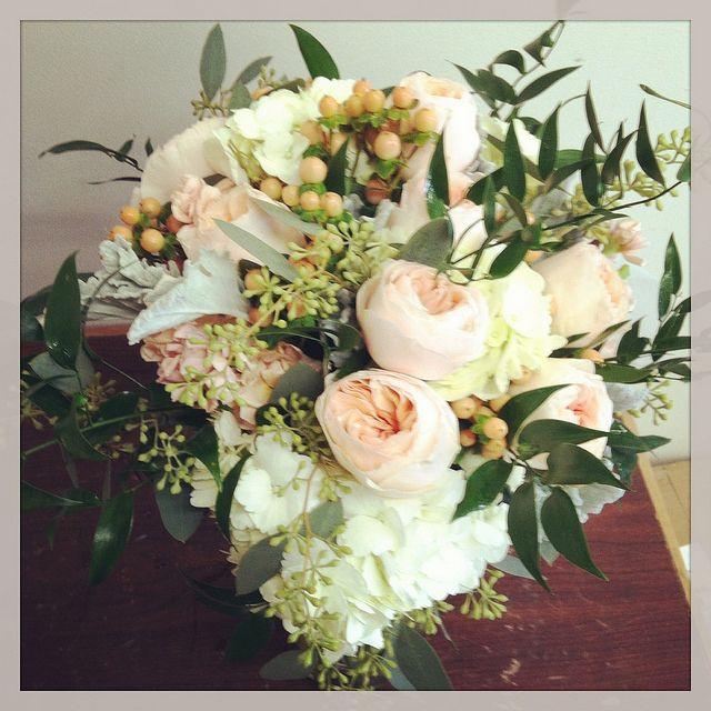 bridal bouquet- hydrangeas, peach garden roses, peach stock, peach