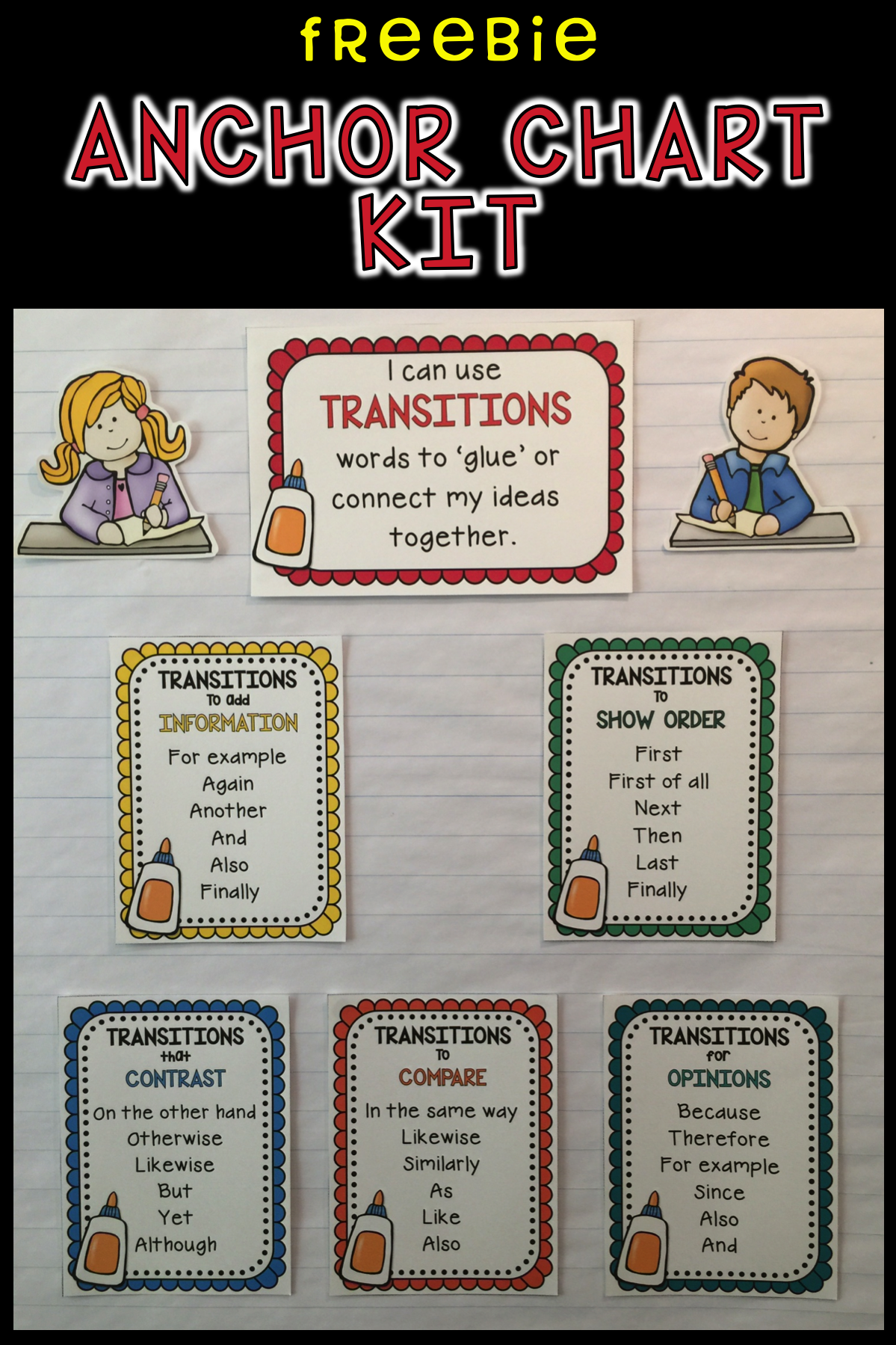 Transition Words In Writing Anchor Chart Kit