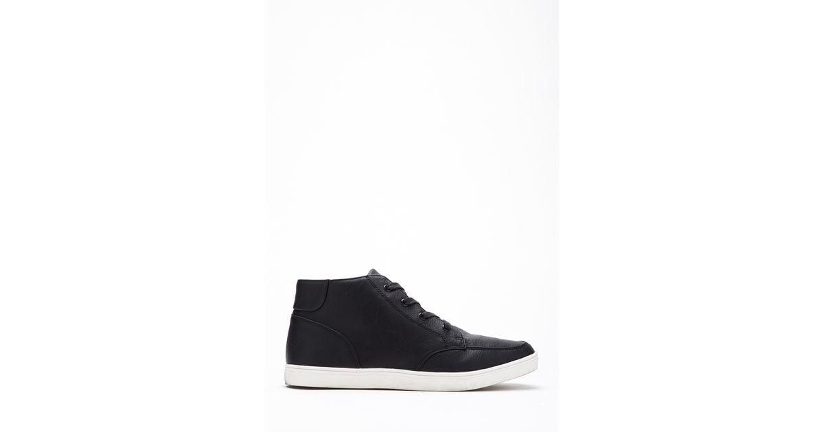 df9c8491bbb0 Lyst – Forever 21 Faux Leather High-Top Sneakers 21 Men in Black for ...