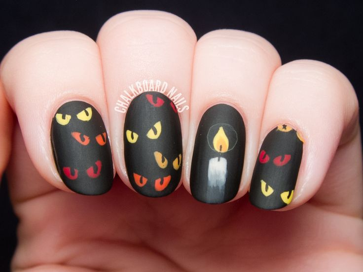 Are You Afraid of the Dark? - Spooky Eyes Nail Art