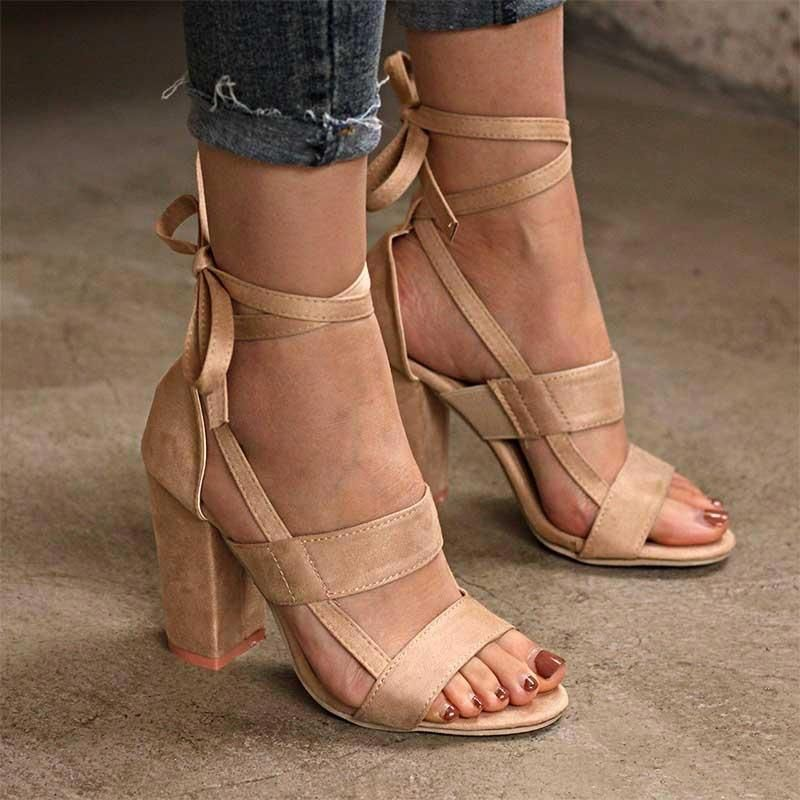 6772533e4d6 Women Shoes Thick High Heeled Suede Straps Party Club Sandals 6 Colors Heel  Size  8