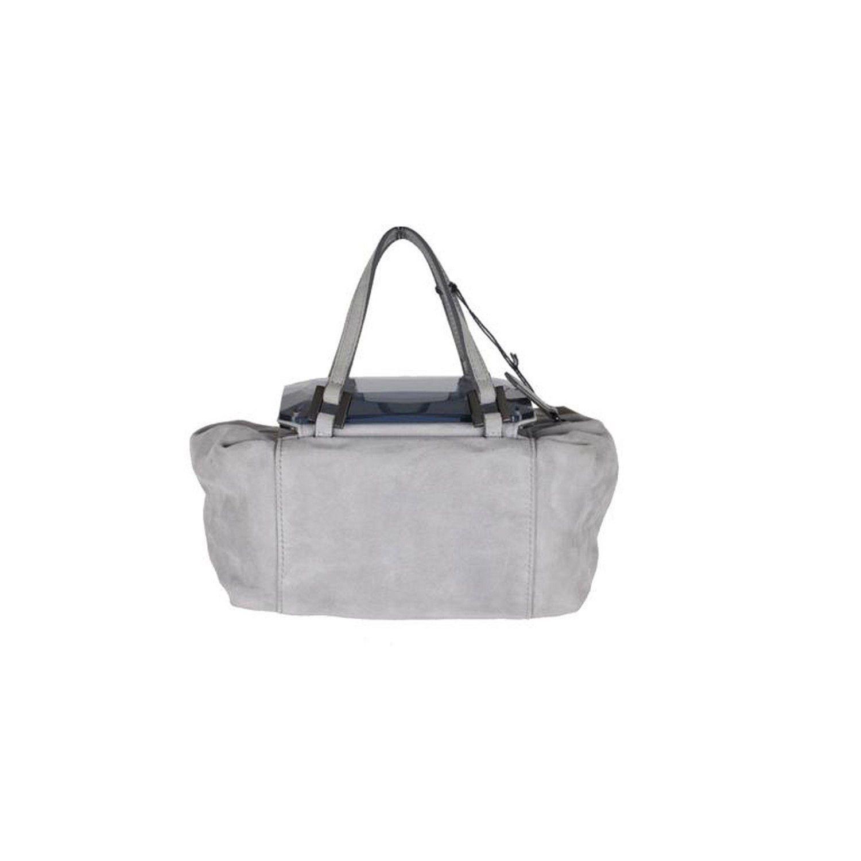 Fendi Gray Grey Suede To You Bag Mini Duffle Mirrored Handbag vNTset