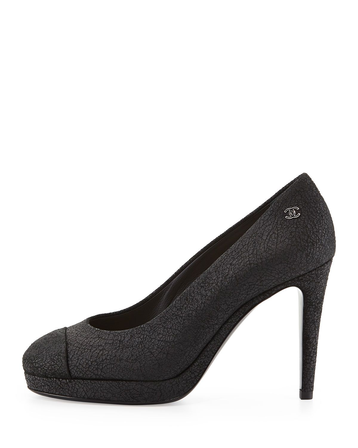 Crackled Leather Pump