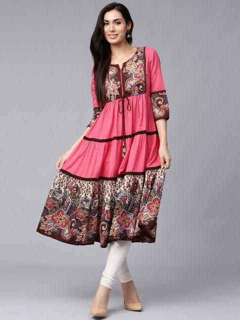 ae9772d385 Buy Rain   Rainbow Women Pink   Brown Printed Anarkali Kurta - Kurtas for  Women