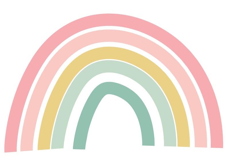 Rainbow Pastel Colors Wall Decor Happy Playroom Nursery Etsy Wall Colors Rainbow Wall Decor Personalized Decals