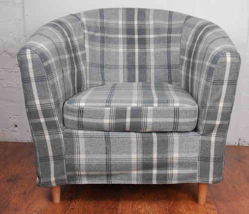 Swell Dove Grey Luxury Wool Effect Tartan Tullsta Tub Chair Cover Ncnpc Chair Design For Home Ncnpcorg