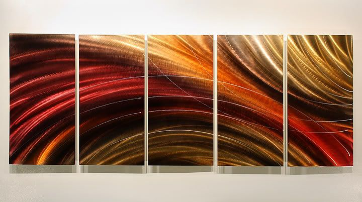Original Signed Abstract Metal Art Wall Painting / Cosmic Burn Red Gold Sculpture. $300.00, via Etsy.