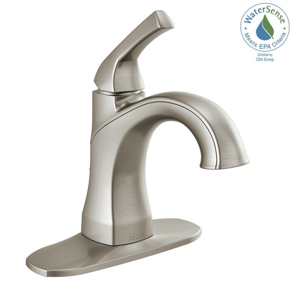 Delta Portwood Single Hole Single Handle Bathroom Faucet In Spotshield Brushed Nickel 15770lf Sp The Home Depot In 2021 Single Handle Bathroom Faucet Bathroom Faucets Faucet [ 1000 x 1000 Pixel ]
