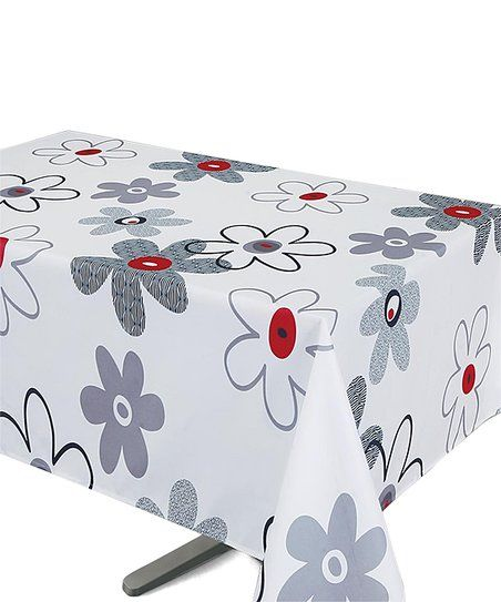 Texstyles Deco Red U0026 Gray Flower Power Tablecloth | Zulily