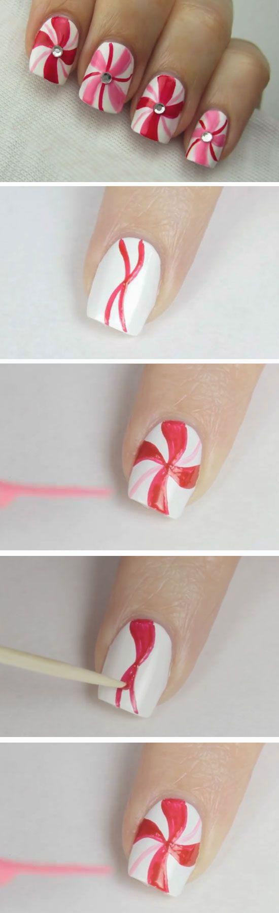 Peppermint Swirl Nail Art | DIY Christmas Nail Art Ideas ...