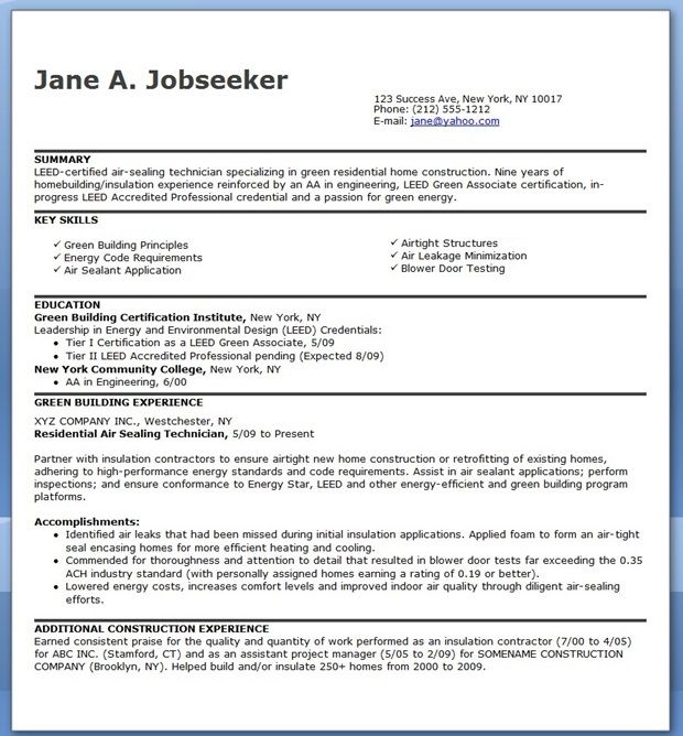 Air Sealing Technician Job Description | Creative Resume Design
