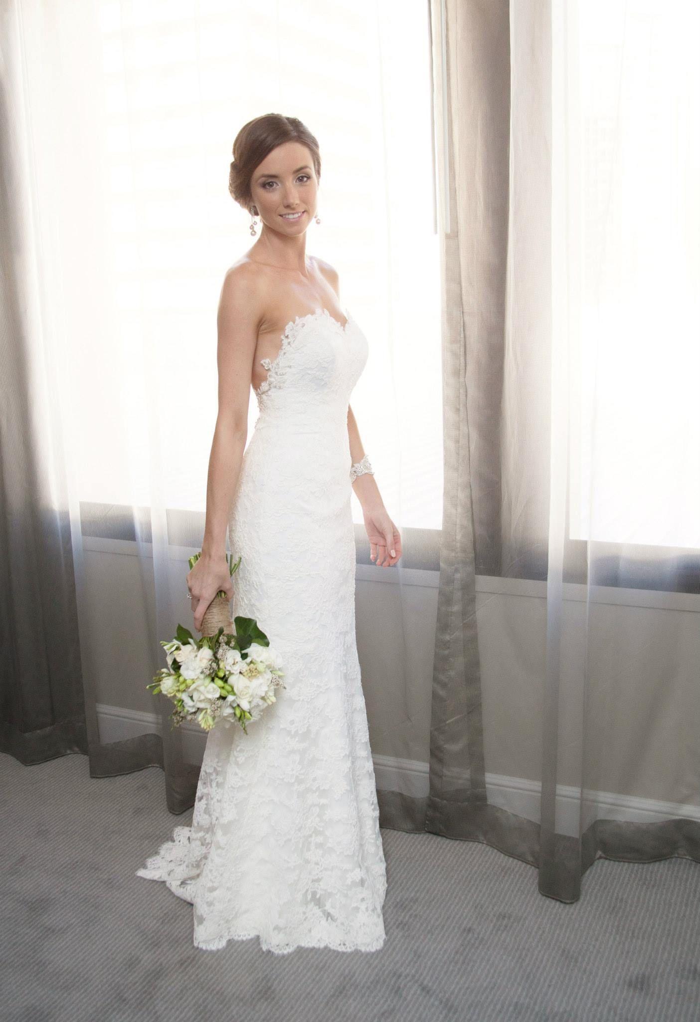 Sharna in her two-piece custom made Ella Moda wedding gown