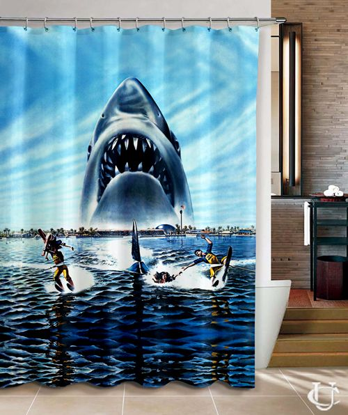 Jaws Shark Shower Curtain Ocean Animals Theme Fabric Bathroom Decor Sets with Hooks Waterproof Washable 72 x 72 inches White and Blue