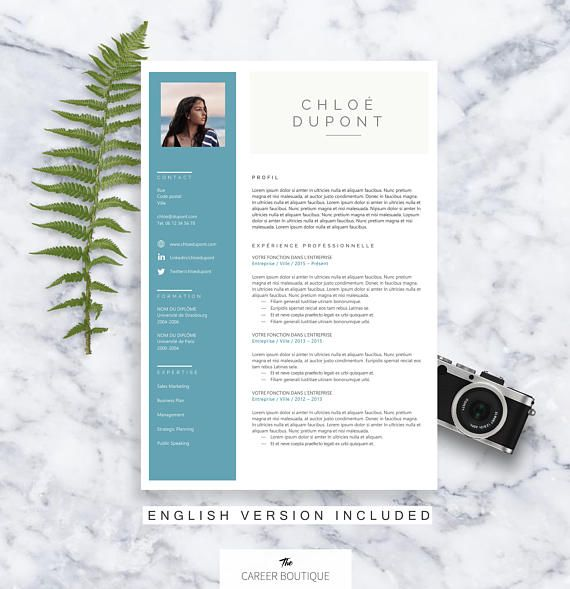 Modèle de CV Chloe Resume Template Lettre de Motivation DIY - resume format microsoft word