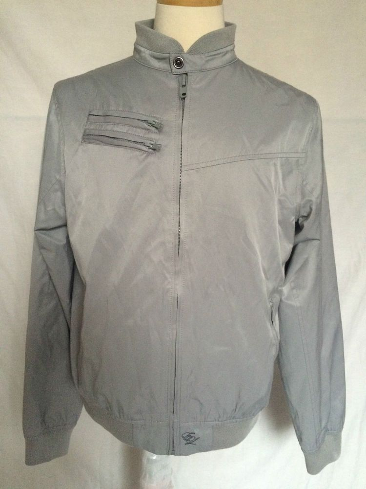 English Laundry Mens Wind Jammer Jacket Gray Embroidery Long