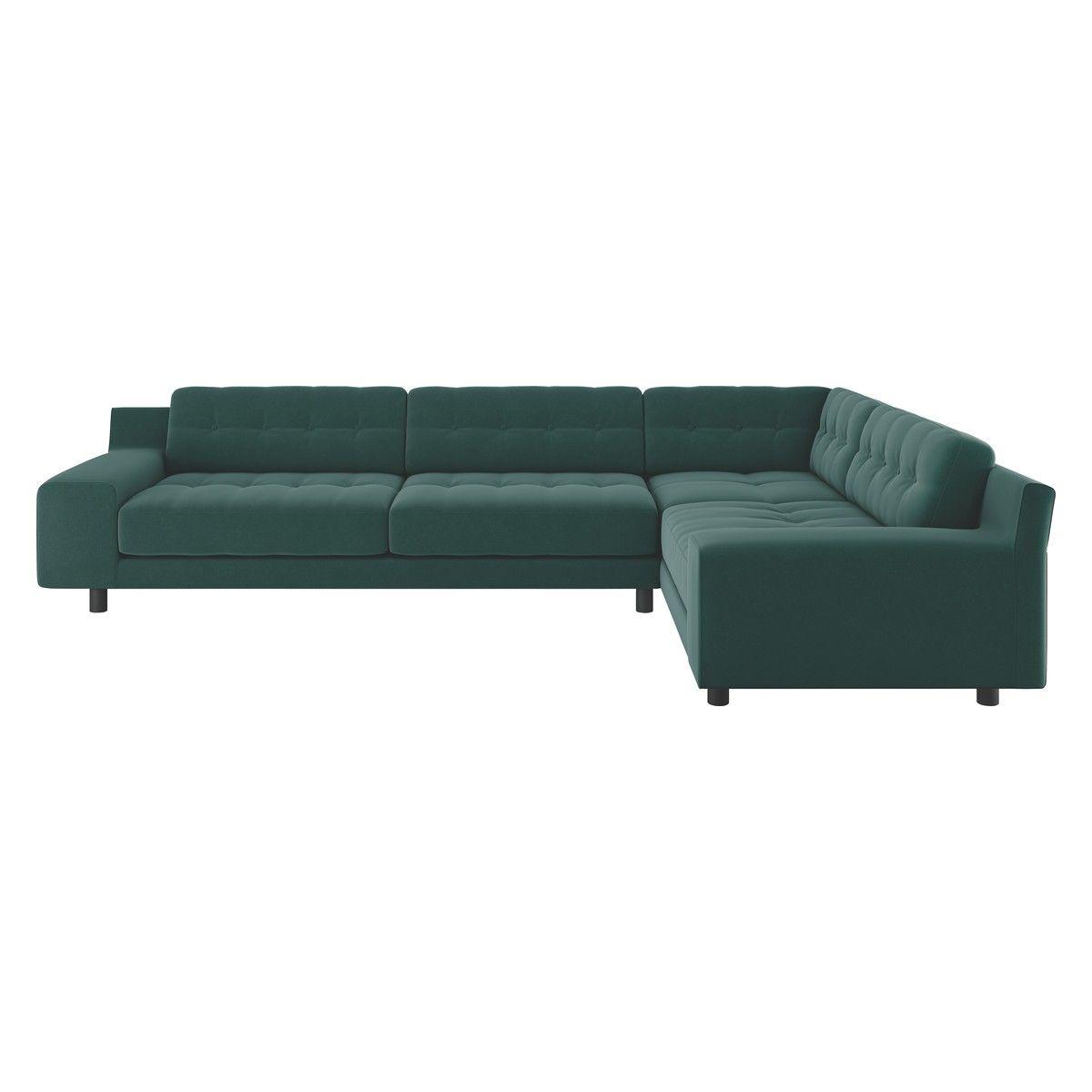 HENDRICKS Emerald green velvet left-arm corner sofa   Home   Corner ...