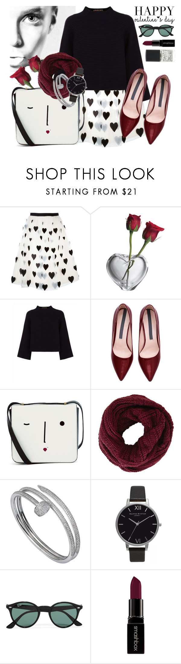 """""""HAPPY Valentine's day to all of you!"""" by ania ❤ liked on Polyvore featuring Alice + Olivia, Simon Pearce, Jaeger, Lulu Guinness, BCBGMAXAZRIA, Cartier, Olivia Burton, Ray-Ban, Smashbox and SHADE Collection"""