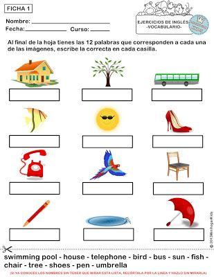 Ejercicios De Vocabulario Ingles Para Primaria Fichas 1 2 3 4 Y 5 Ejercicios De Ingles Vocabulario En Ingles Material Escolar En Ingles