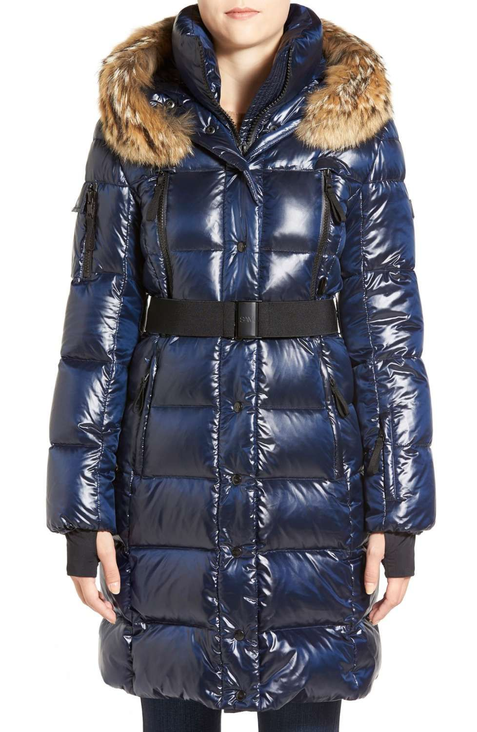 8d338a0e8318 Main Image - SAM.  Infinity  Belted Long Goose Down Coat with Removable  Genuine Coyote Fur Trim
