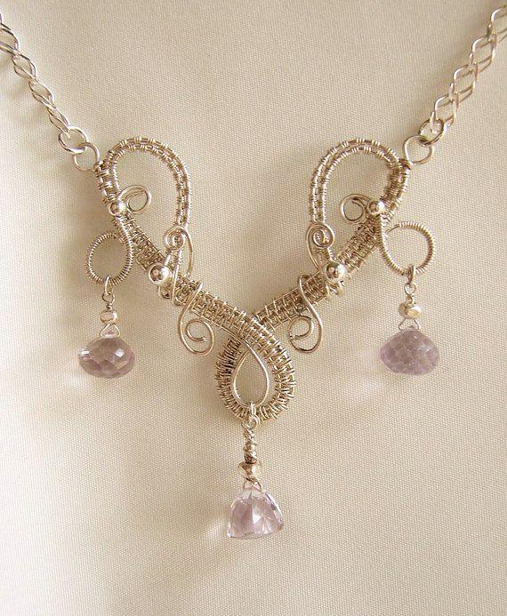 Fairy Elven Woven Silver Wire Amethyst - Bazaars R Us - Jewelry