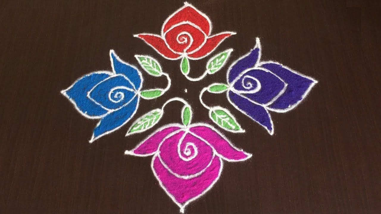 Small Rose Colours Kolam With 11 To 1 Latest Flower Rangoli Designs Flower Rangoli Rangoli Designs Rangoli Designs With Dots