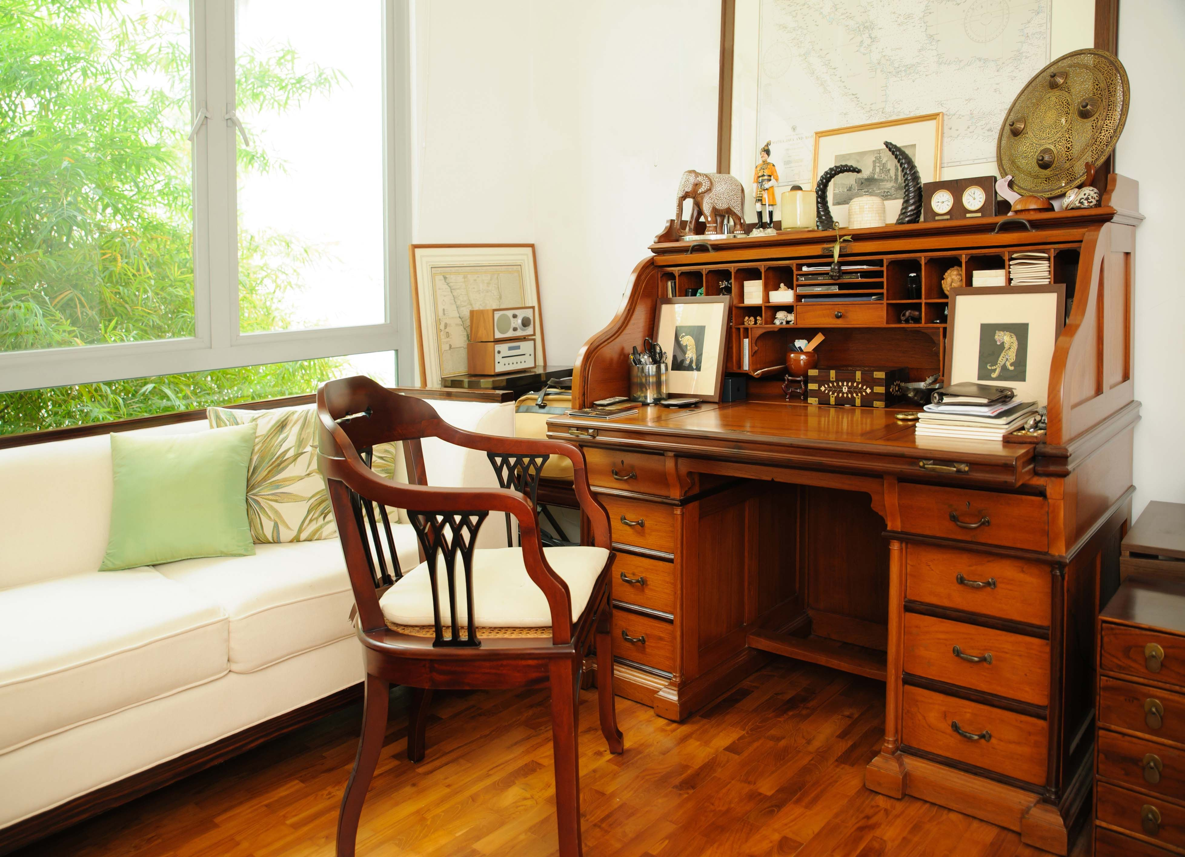 A Beautiful Antique British Colonial Roll Top Desk In Teakwood With Contrasting Details In Rosewood The Fitted Interior Roll Top Desk Home Colonial Furniture