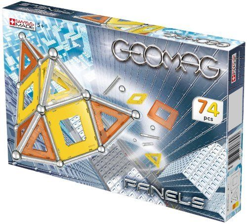 Geomag Kids Panels - 74 pieces by Reeves (Breyer) Int'l. $45.90. Swiss-made quality. Thousands of geometric forms possible. Magnetic construction system. All components manufactured to stringent European and American safety standards. Includes 24 magnetic rods, 18 chromed steel spheres, 12 square panels and 20 triangular panels (panel colors include: orange, yellow and white). From the Manufacturer                Geomag Kids, known for its Swiss-made quality and safety, is an inv...