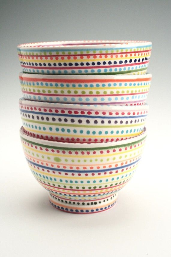 Rice Bowl Hand Painted Stripes And Dots By Owlcreekceramics