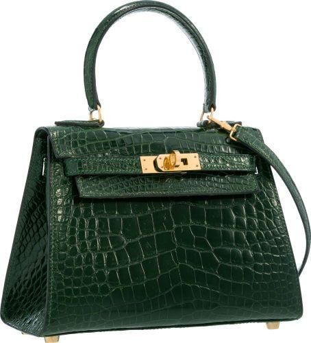 Hermes 20cm Shiny Vert Fonce Alligator Mini Sellier Kelly Bag withGold  Hardware. V d718919d75af4
