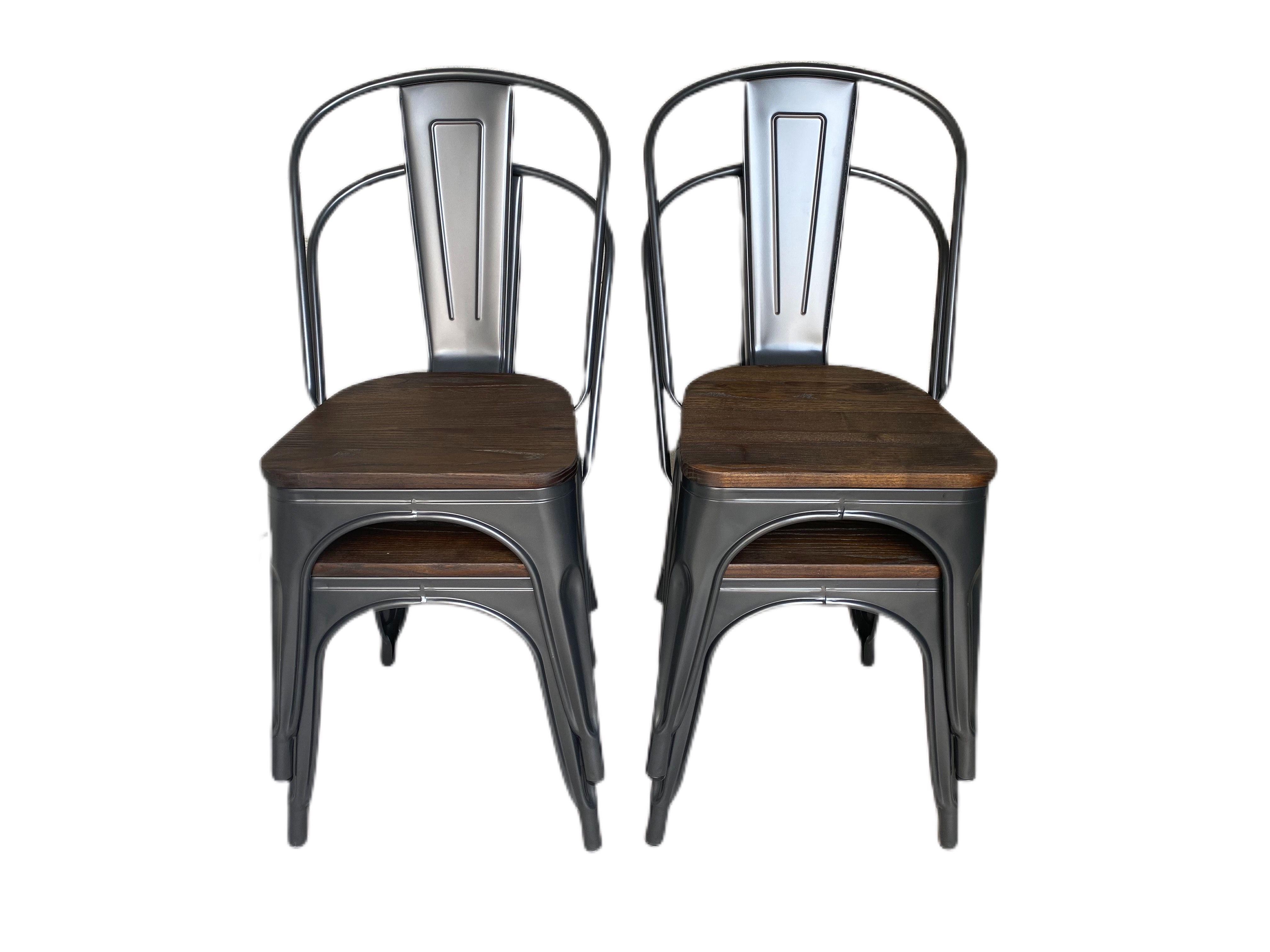 Lot 4x Chaises Industrielle Grise Assise Bois Fonce 179 En 2020 Chaise Industrielle Chaise Metal Mobilier Design Pas Cher
