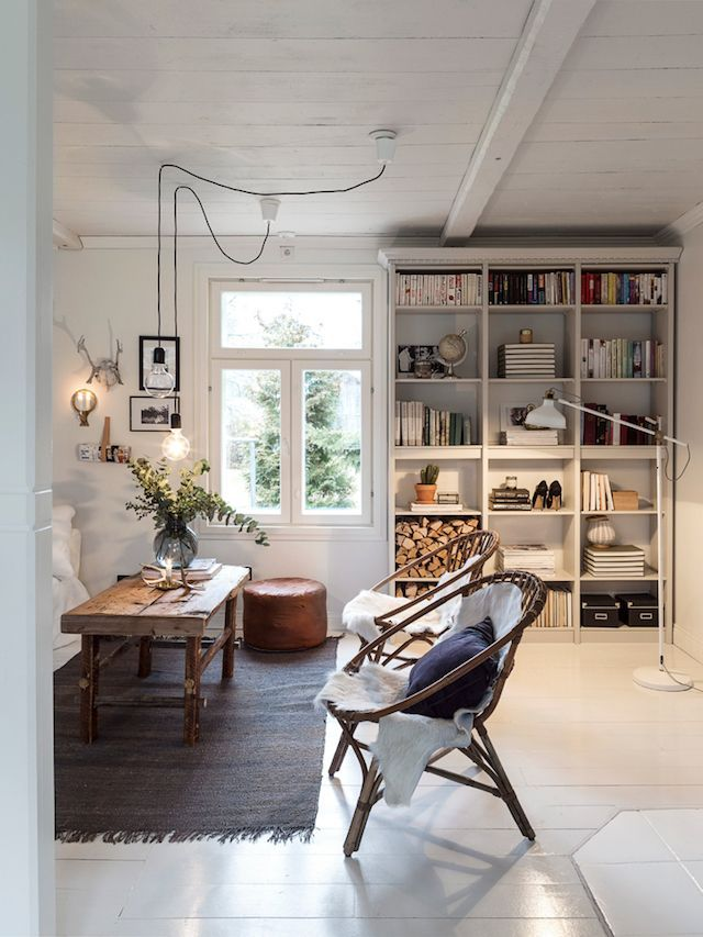 White Bookshelf In A Charming Family Home In The Finnish