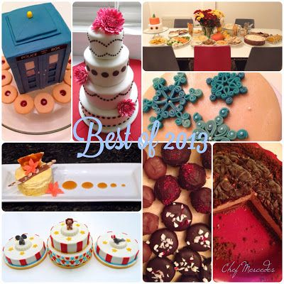 Food, Glorious Food!: The Best of 2013---(clockwise from top right) TARDIS cake, wedding cake, halloween party, gluten-free christmas cake, Mississippi mud pie, homemade chocolates, circus cakes, plated gluten-free dessert