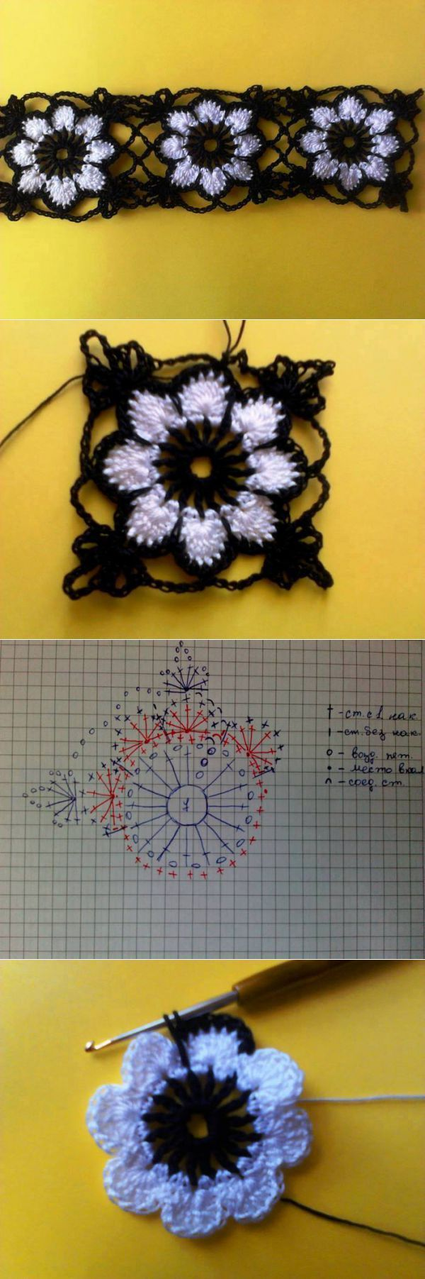 Pin By Lissah Dee On Knit And Crochet Pinterest Granny Flower Motif Motivos Hexagonales Squares